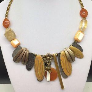 Chico's Enamel Pendant Beaded Choker Necklace